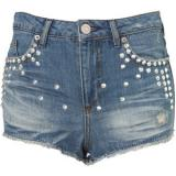 Petite Studded Denim Hotpants - shorts