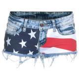 Lpfp Studs Blue Studded Denim Shorts - shorts