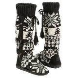 Muk Luks  Women's Mishka Tall Knit Boot   Ebony/Vanilla - Womens Boots