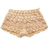 Floral Crochet Shorts in Peach - shorts