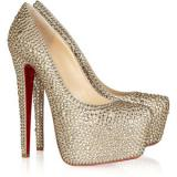 Christian Louboutin Daffodile 160 crystal - embellished suede pumps - Women's Platform Pumps